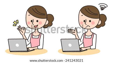 Illustration of a young woman using a computer
