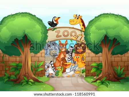 illustration of a zoo and animals in a beautiful nature - stock photo