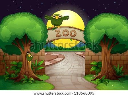 illustration of a zoo and owl in a beautiful nature - stock photo