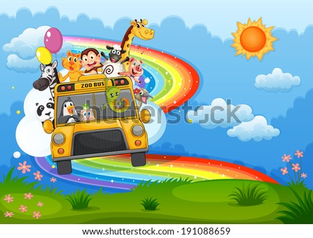 Illustration of a zoo bus at the hilltop with a rainbow in the sky - stock photo