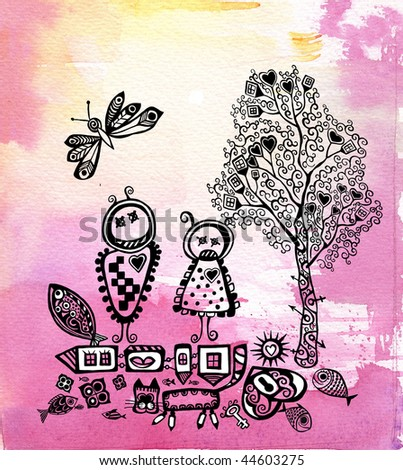 Illustration of abstract boy, girl on psychedelic background elements for your design. - stock photo
