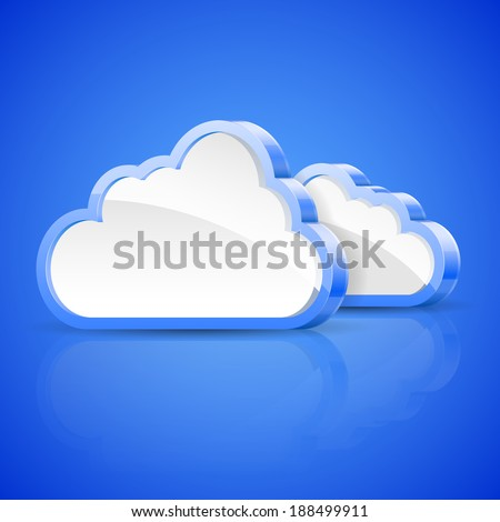 Illustration of abstract clouds on blue background. - stock photo
