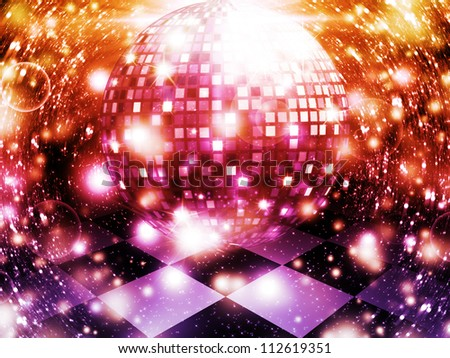 Illustration of abstract dancing floor with disco ball. - stock photo
