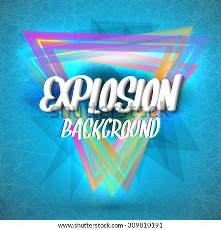 Illustration of Abstract Explosion Background with Colorful Triangles, Particles and Connection Lines - stock photo