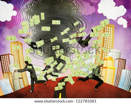Illustration of abstract financial crisis as big tornado and business people background. - stock photo