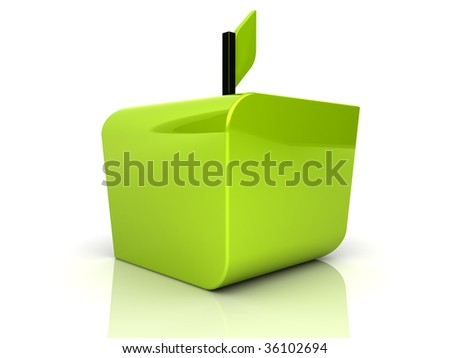 Illustration of abstract green apple on reflected - stock photo