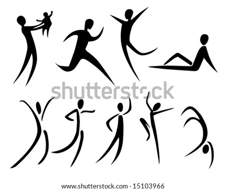 illustration of abstract human silhouettes - stock photo