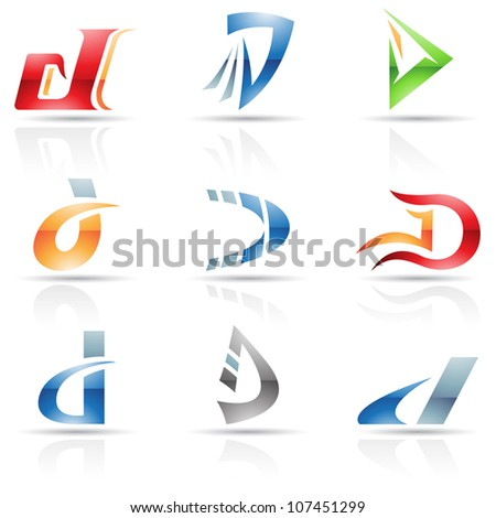 illustration of abstract icons based on the letter D