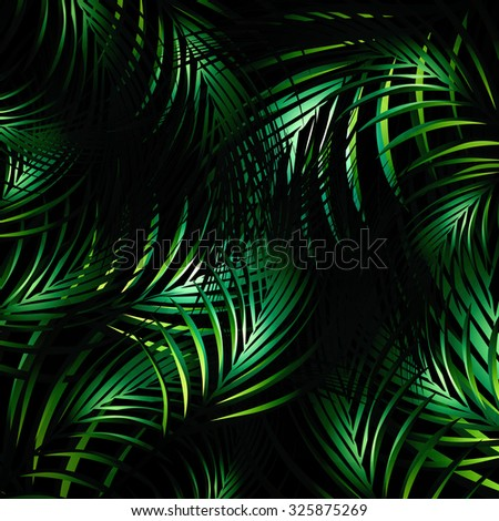 Illustration of Abstract Jungle Palm Leaves Night Background - stock photo