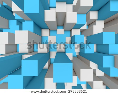 Illustration of abstract mosaic three-dimensional grey and blue background  - stock photo