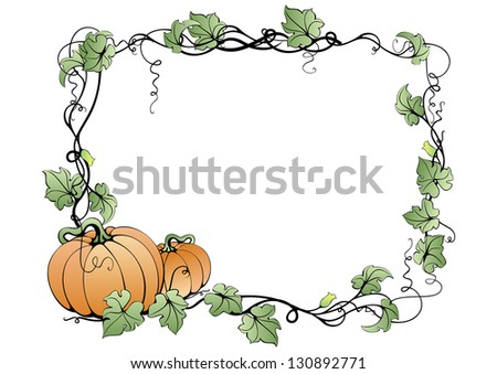 Illustration of abstract pumpkins and leaves in frame - stock photo
