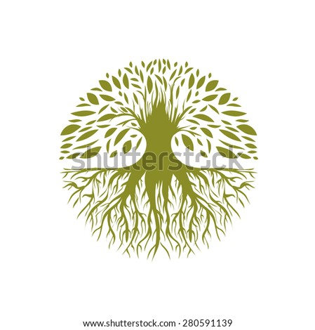 Illustration of Abstract Round Tree Logo Design - stock photo