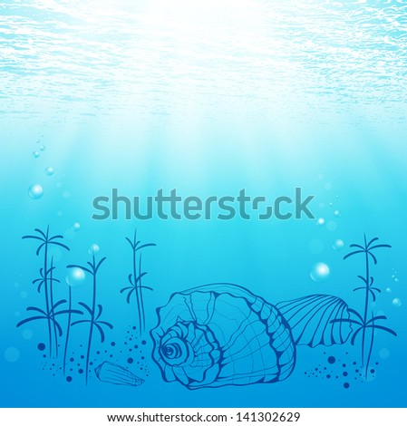 Illustration Of Abstract Sea Life With Shell and Sun - stock photo