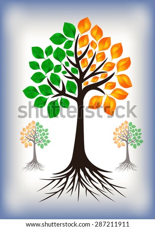 Illustration of abstract tree with green and golden leaves