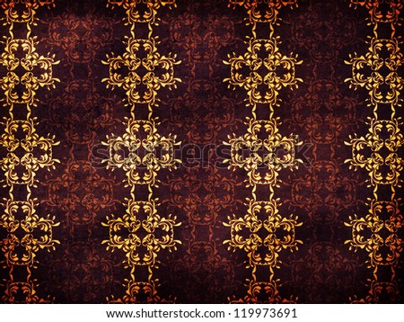 Illustration of abstract vintage background with yellow flower pattern.