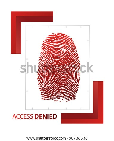 illustration of access denied sign with thumb on isolated background