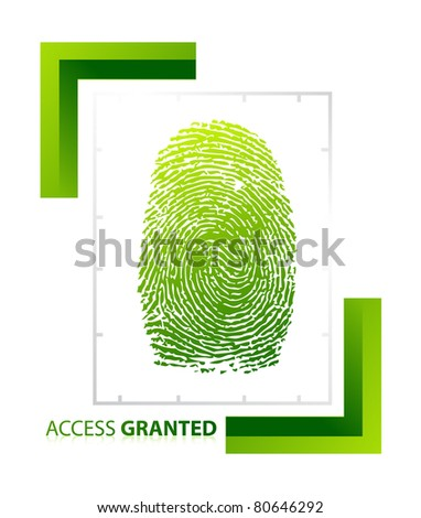 illustration of access granted sign with thumb on isolated background - stock photo