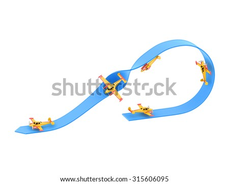 Illustration of aerobatics half loop with a half roll with yellow airplane model over blue arrow on white background - stock photo