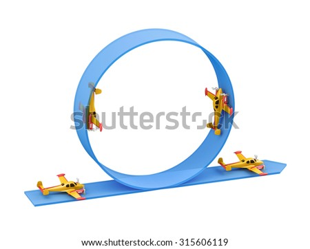 Illustration of aerobatics loop with yellow airplane model over blue arrow on white background - stock photo