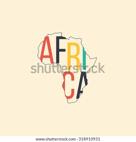 Illustration of Africa continent outline with text inside. Infographic and travel element - stock photo