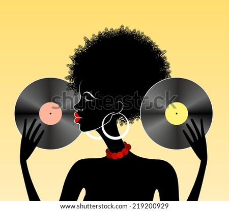 Illustration of african lady with vinyl records