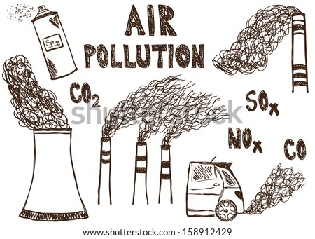 Illustration of air pollution doodle drawings on white background - stock photo