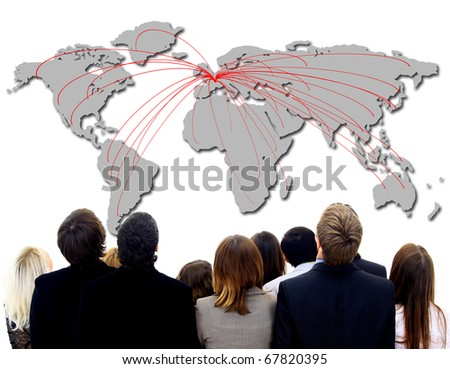 illustration of airline route on world map - stock photo