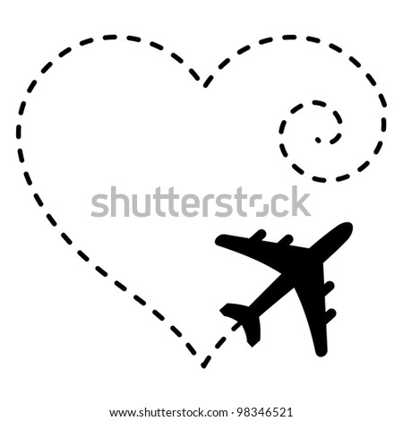 Illustration of Airplane Drawing a Heart Shape in The Sky - stock photo