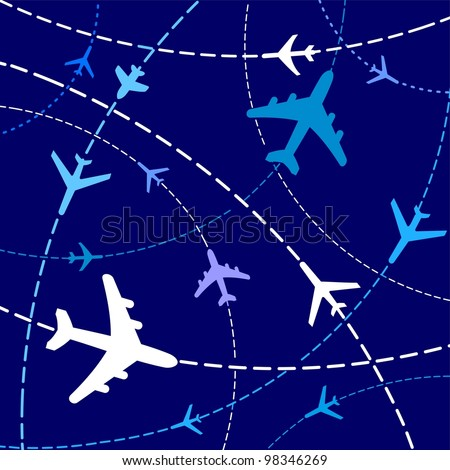 Illustration of Airplane Routes - stock photo