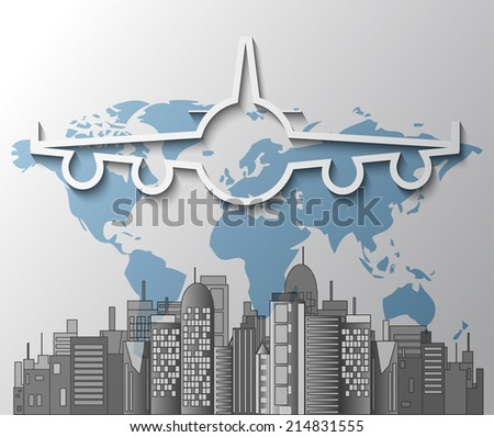 Illustration of airplane with city skyline and world map - stock photo