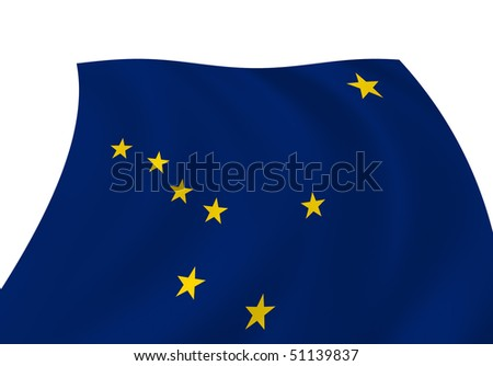 Illustration of Alaska state flag waving in the wind