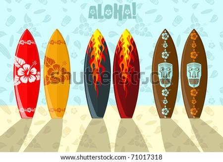 Illustration of aloha surf boards on the beach - stock photo