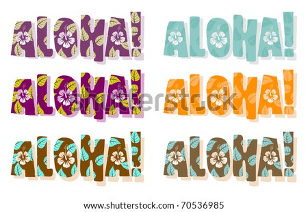 Illustration of aloha word in different colors, hand drawn text - stock photo
