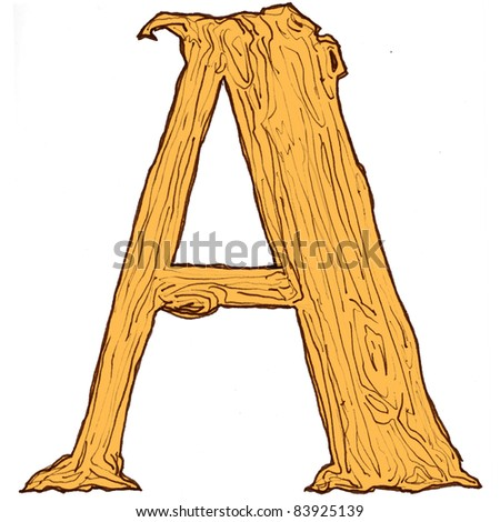 Illustration of alphabet in concept of wood