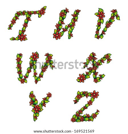 Illustration of alphabet set with flowers and leaves on isolated background  - stock photo