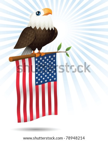 Illustration of American Eagle, tree, and flag