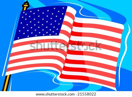 Illustration of American flag with a background	 - stock photo