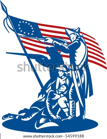 Illustration of american patriots fighting with betsy ross flag
