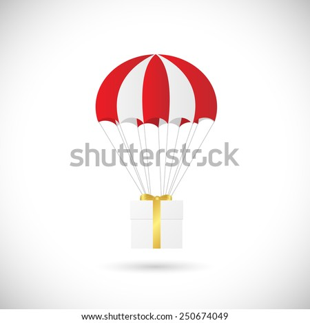 Illustration of an abstract gift box and parachute design isolated on a white background. - stock photo