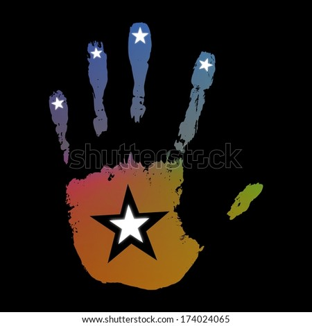 Illustration of an abstract hand print with stars