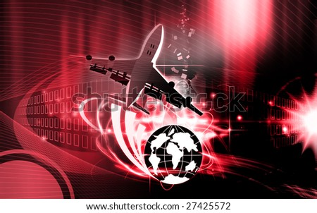 Illustration of an aeroplane in flying around globe - stock photo