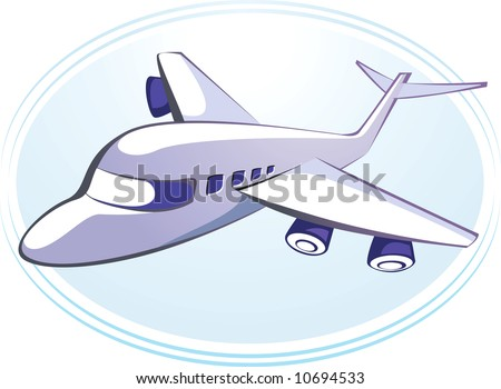 Illustration of an aeroplane in light blue background	 - stock photo