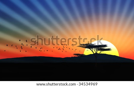 Illustration of an african landscape with sunset/sundown and birds in the sky - stock photo