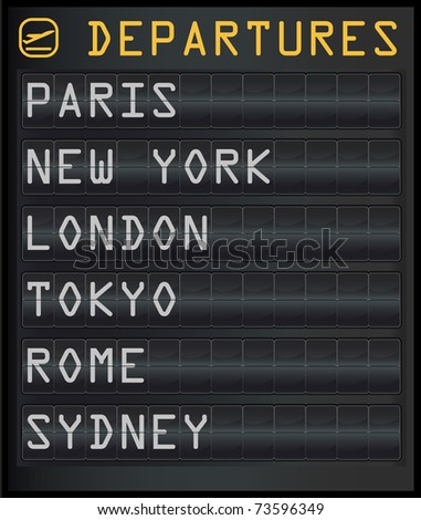 illustration of an airplane departure board - stock photo