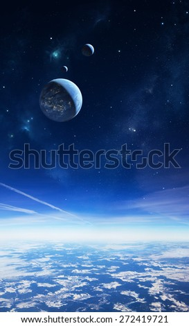Illustration of an alien planet viewed from a high altitude with moons and stars in the sky. The planetary surface in the foreground is a photo.