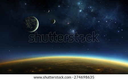 Illustration of an alien planet viewed from orbit in space above the twilight zone with lights of cities visible under the cloud layer and on one of the three moons. - stock photo
