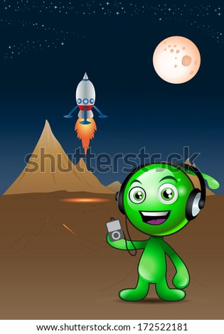 illustration of an alien with headphone listening to music on planetarium background - stock photo
