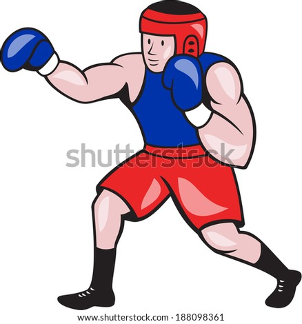 Illustration of an amateur boxer wearing head gear and boxing gloves jabbing punching viewed from side done in cartoon style on isolated background.