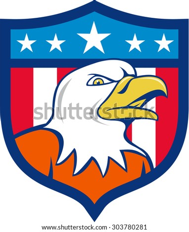Illustration of an american bald eagle head angry looking to the side set inside shield crest with usa flag stars and stripes in the background done in cartoon style.