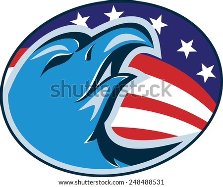 Illustration of an american bald eagle head set inside oval with usa stars and stripes flag in background done in retro style